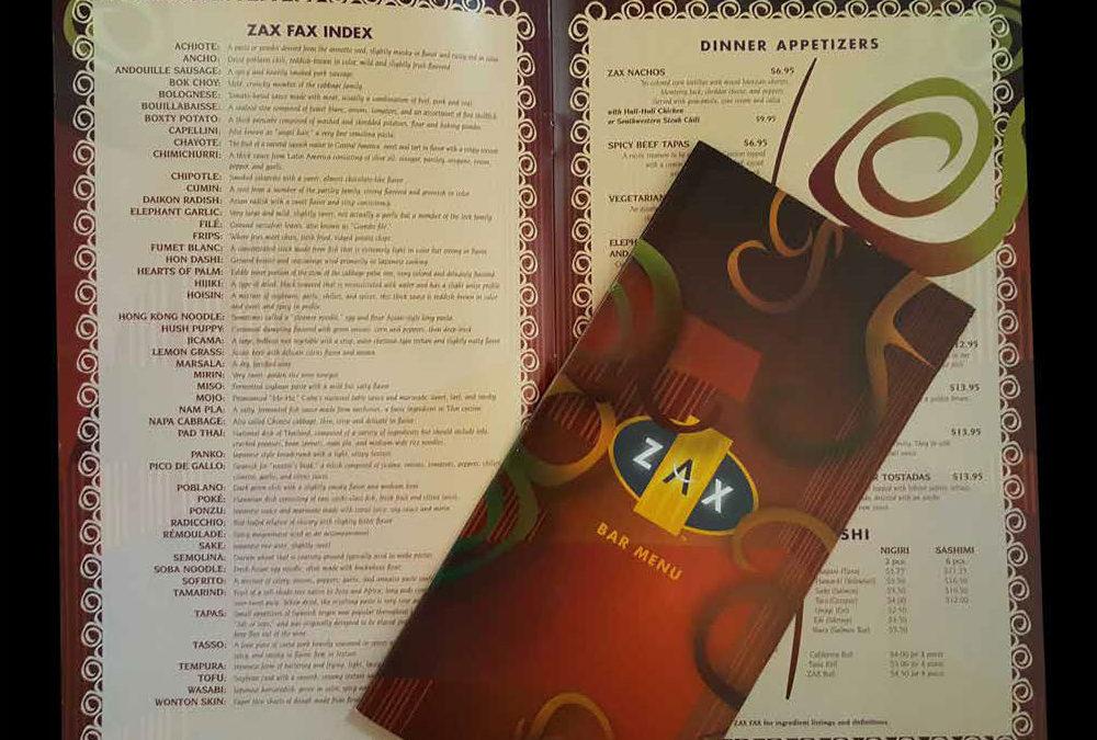 ZAX Restaurant Menu Package