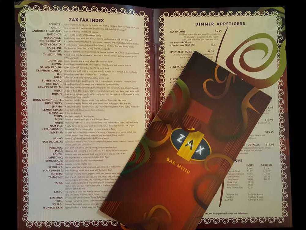 ZAX Restaurant Menu Package